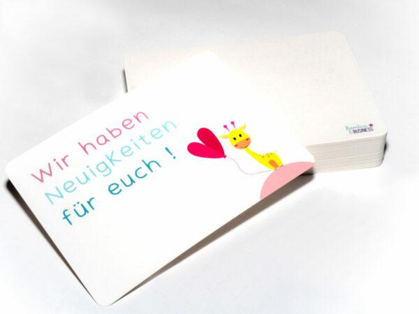 Postkarte zur Verkündung der Schwangerschaft