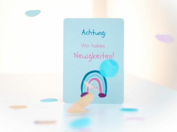 Postkarte zur Mitteilung über Schwangerschaft, Geburt, Verlobung, Heirat an Familie, Freunde, Verwandte und Bekannte.
