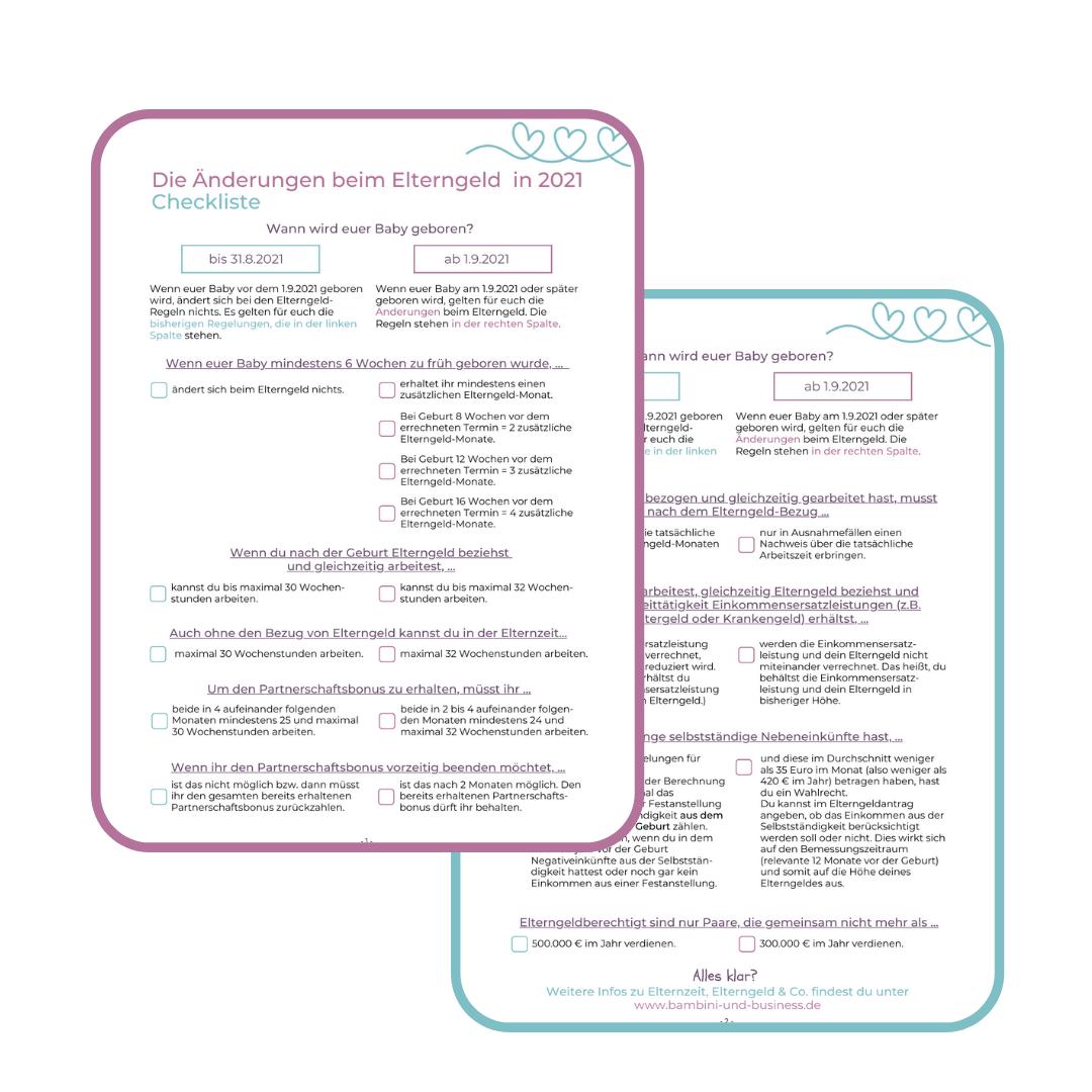 Checklisten Elterngeld Änderungen ab 1.9.2021